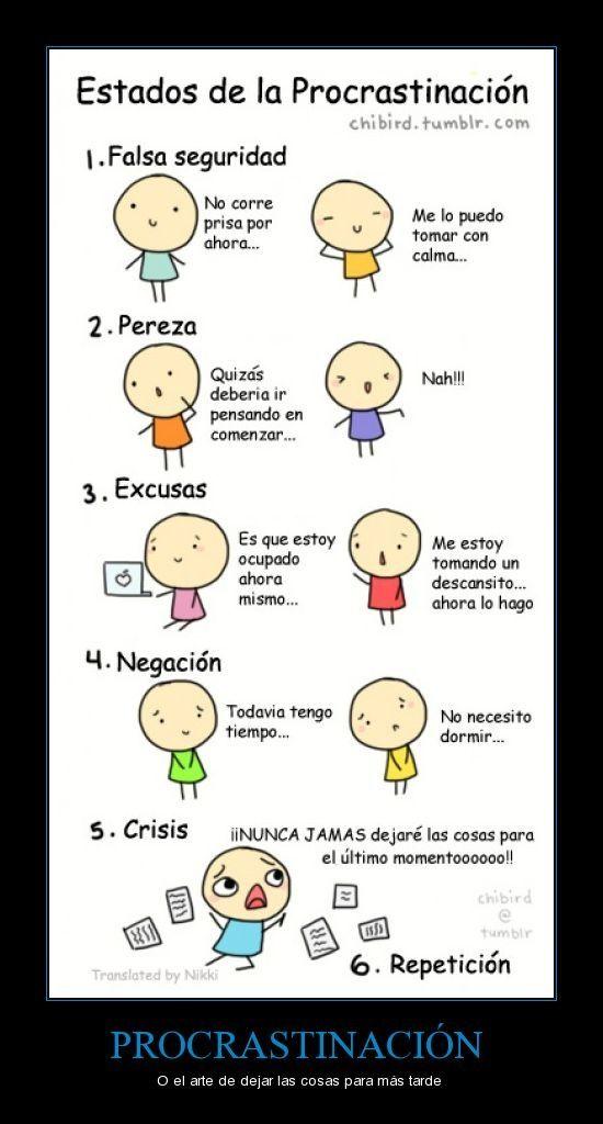 Las 5 etapas de la procrastinación.