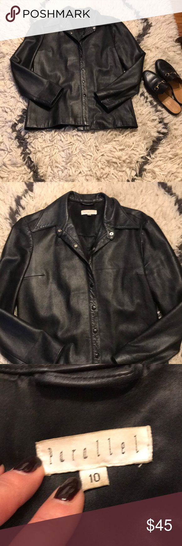 FLASH SALE 🎉Black leather jacket w snaps Lightweight, buttery soft leather jacket, styled like a shirt with snap closures. down the front. EUC no signs of wear. Broken top snap just noticed as I never buttoned the top. Easy fix. Will price accordingly. Comfortable and effortlessly cool. Parallel Jackets & Coats