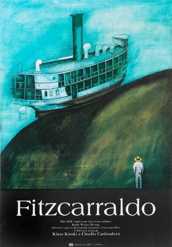 "Werner Herzog's Fitzcarraldo, starrring Klaus Kinski, 1982.  ""chi sogna può spostare le montagne""."
