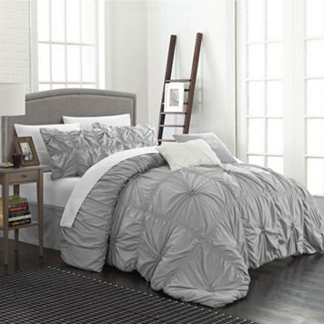 Chic Home Halper 6-piece Bed Set. Grey comforter. Ruffled
