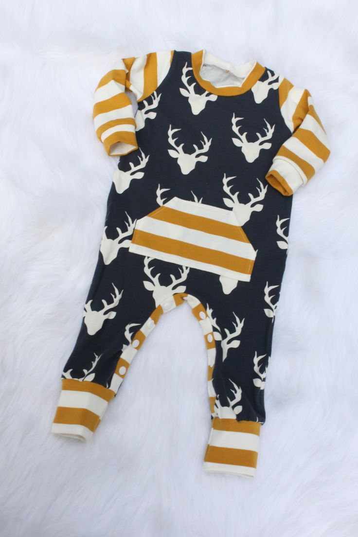 Baby Boy Romper / Deer Romper / One Piece / Bodysuit / Rompaloons / Cloth Diaper / Toddler / Coming Home Outfit / Baby Boy Outfit / Trendy by tinyhinythreads on Etsy