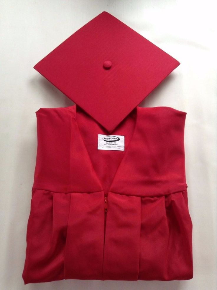 """Jostens Red Graduation Cap and Gown, size 5' 10"""" to 6' #Jostens"""