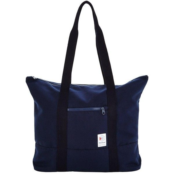 Reebok Classics Large Tote ($30) ❤ liked on Polyvore featuring bags, handbags, tote bags, pocket purse, blue tote, sports tote bag, blue tote handbags and pocket tote
