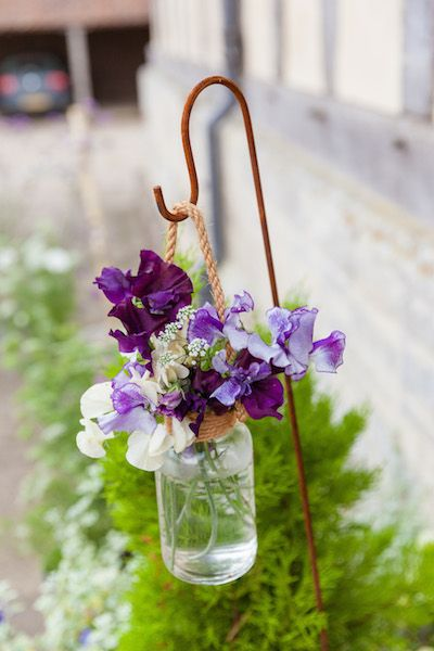 Rustic Rentals Hire Vintage props for wedding, party, barn, tepee, marquee  - rusty shepherds crook, hanging heart jar with rope vintage, pink, lilac, sweet pea, ammi,
