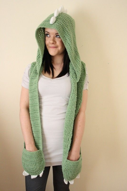 Wanna channel your inner fearsome dino? Of course you do! Who doesnt want to look cute but ferocious!? This hand crocheted hooded dino scarf