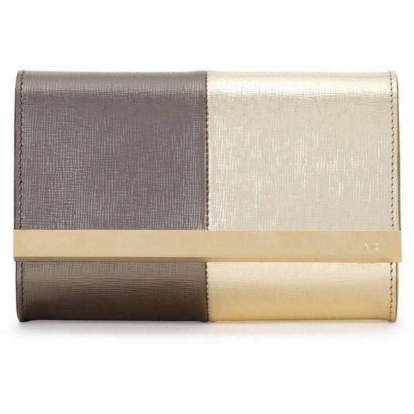 Fendi Rush Mini Metallic Clutch Bag (3,785 SAR) ❤ liked on Polyvore featuring bags, handbags, clutches, borse, fendi, gold, two tone handbags, pochette, metallic clutches and metallic purse