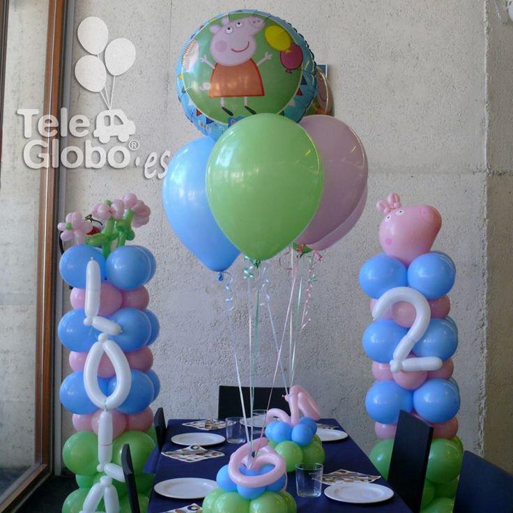 Decoraci n con globos para cumplea os con tem tica peppa - Decoraciones para cumpleanos infantiles ...