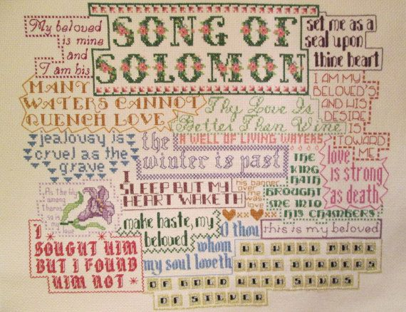 Bible Collage - Finished Cross Stitch - Song of Solomon - Ready To Frame - One-of-a-Kind - with Free Shipping