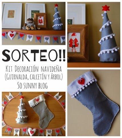 Acción de Gracias y Sorteo. Thanksgiving Felt Christmas sock, tree and garland. Guirnalda, calcetín y árbol de Navidad de fieltro.