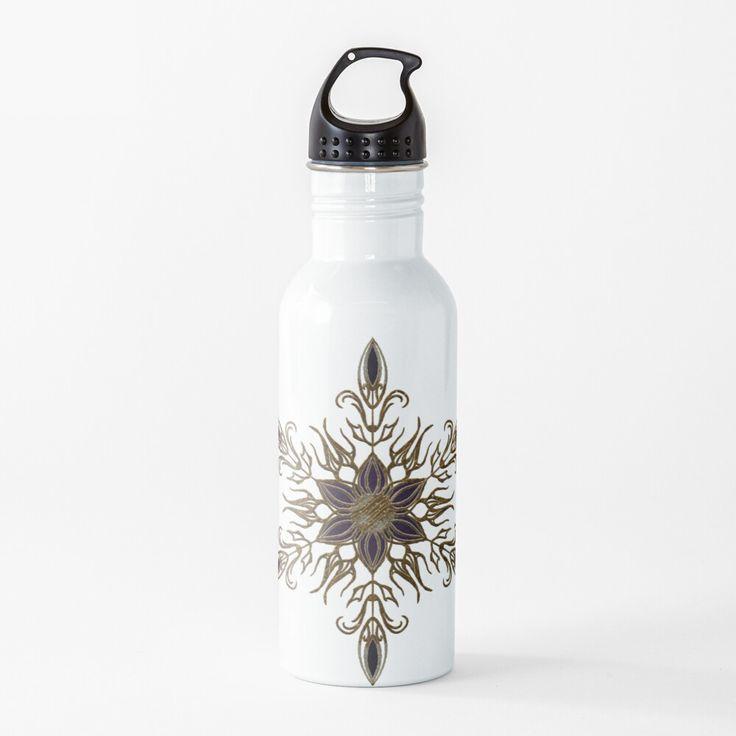 Elegant Gold Floral Pattern Delicate Star Water Bottle