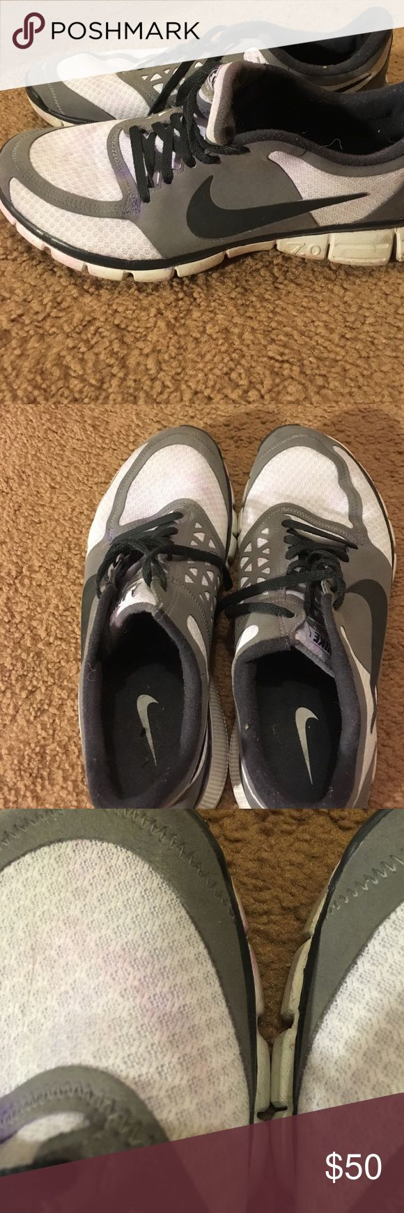 Men's Nike shoes size 10.5 Men's gray, white, and black Nike shoes. Gently worn but has some spots of discoloration. May come out if washed. Overall wearable and pretty good condition. Men's size 10.5 in us Nike Shoes Athletic Shoes