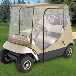 Driving Golf Cart Cover( COLOR: N/A ) by Tour Trek. $44.98. Gear for Golf Driving Golf Cart Cover This cover protects your golf cart against the wind, rain and other weather conditions. Stores compactly, installs in minutes and fits most golf carts. Zippered side and back doors, with side doors that can roll up and stay open. Features: Dimensions: 84.50 L x 41 W x 54.5 H Roof Dimensions: 54.50 L x 41 W One-year warranty