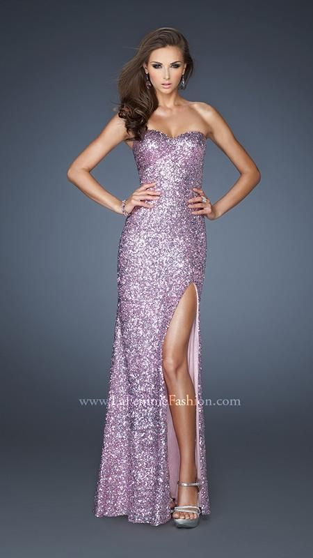{ 18840 | La Femme Fashion 2013 } La Femme Prom Dresses - Sequined Gown - Strapless - Side Slit - Loose Waves