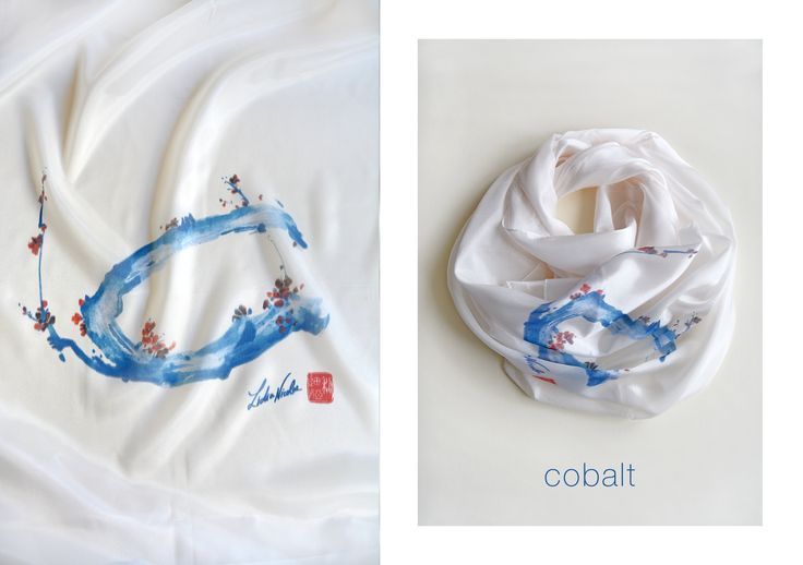 Cobalt Scarf, printed on organic silk with my asian painting. Enjoy! #cobalt #blue #scarf #silk #spring #blossom #lidianicolae