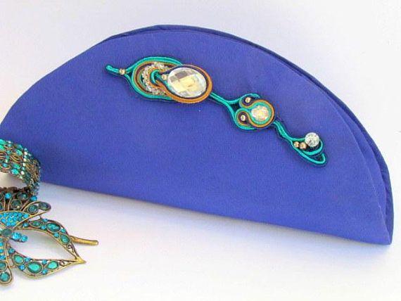 Blue Elegant Clutch Soutache Clutch Beaded Clutch Bags