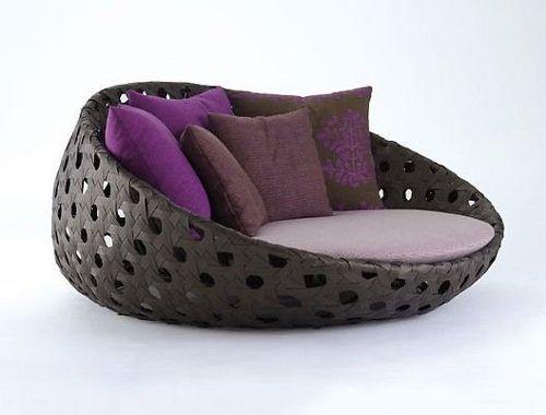 chaise concha de fibra sintetica sofa poltrona luna puff