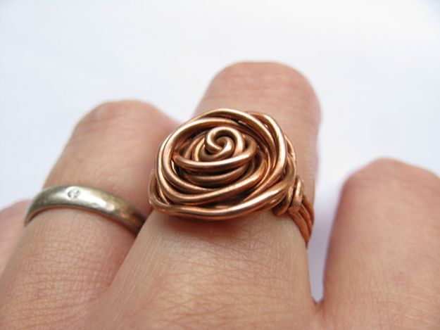 DIY Handmade Jewelry Ideas & Cool Project Ideas   How To Make A Brass Rose Ring By DIY Ready http://diyready.com/handmade-jewelry-diy-bracelets-jewelry-making-ideas/
