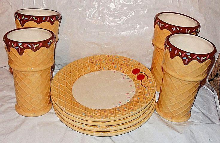 Oneida Kitchen 4 Dessert Plates And 4 Glasses--Hand Painted   Pottery & Glass, Pottery & China, China & Dinnerware   eBay!