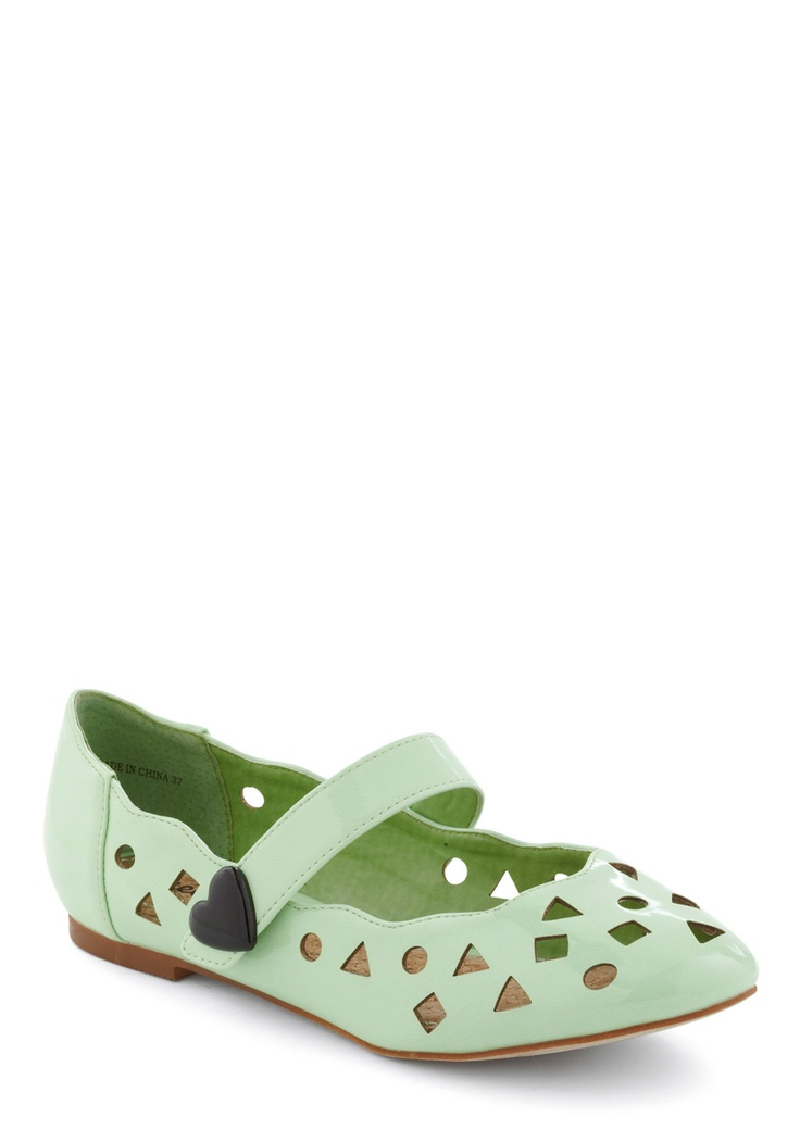 Shape, Rattle, and Stroll Flat by Shellys of London - Casual, Statement, Green, Black, Cutout, Solid, Spring