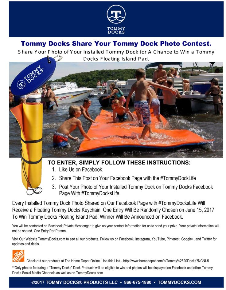 ENTER OUR PHOTO CONTEST! Check Out The Entry Details on How to WIN a Tommy Docks Island Pad Valued at $429.95! Get a Tommy Docks Floating Key Chain Just for Entering. Make Sure to Share This Contest With All Your Friends and Family!