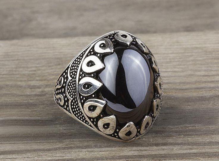 925 K Sterling Silver Man Ring  Black Onyx Gemstone 11,25 US Size #istanbuljewelry #Cluster