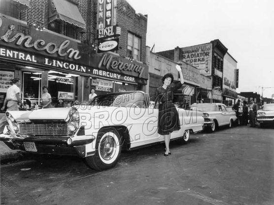 Coney Island Avenue Lincoln Mercury dealer, 1960