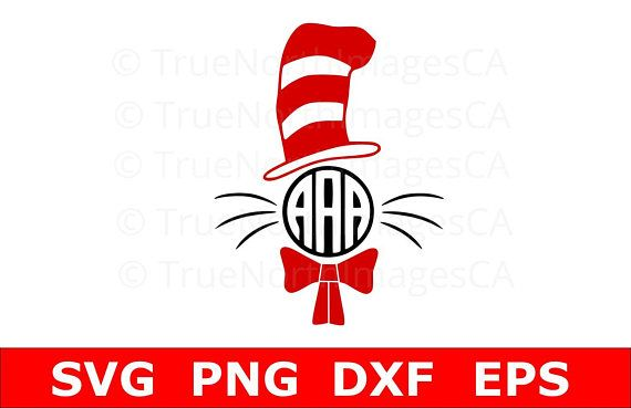 Cat in the Hat SVG / Dr Seuss SVG / Monogram SVG / Teacher svg / Dr Seuss svg Files / svg Files for Cricut / Silhouette