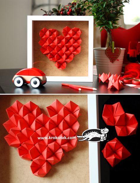 Origami-Wanddesign mit viel Herz