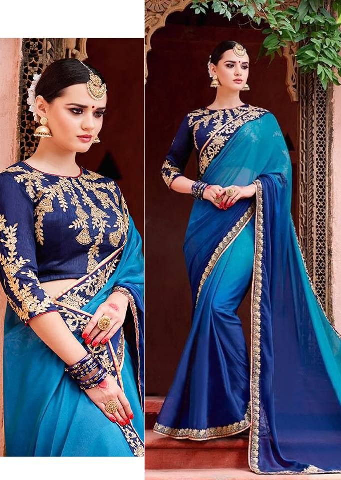 5f650a48a6f9f Shreeji Nx - Blue Color Designer Chinnon Silk Saree - Sarees saree ...