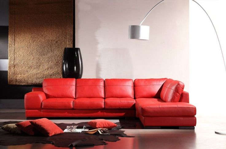 Divani Casa 260 Red Leather Sectional Sofa
