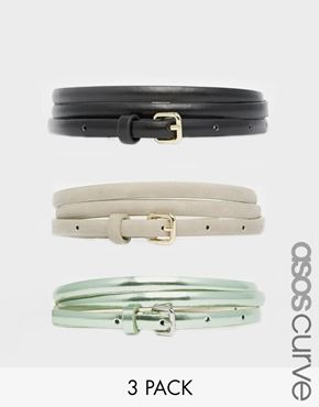 ASOS CURVE Metallic Hip and Waist Belt in 3 Pack