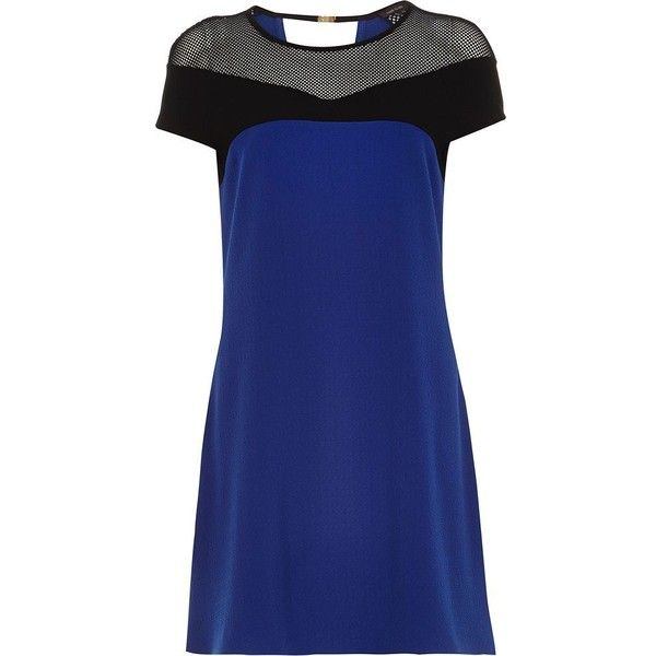 River Island Blue mesh textured crepe swing dress ($15) ❤ liked on Polyvore featuring dresses, sale, blue mesh dress, tent dress, mesh yoke dress, mesh insert dress and blue crepe dress