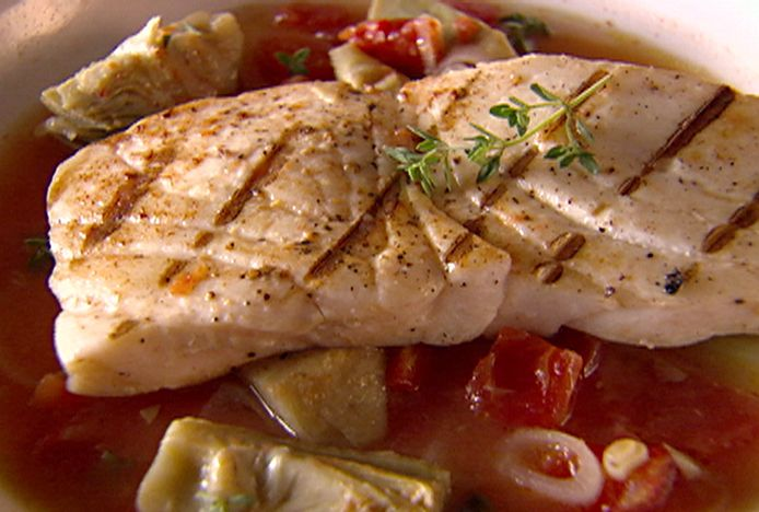 Halibut in Artichoke and Tomato Broth - just made it - delish.  I added a 1/8 teaspoon cayenne to the broth.  Make a big difference.  Yum!