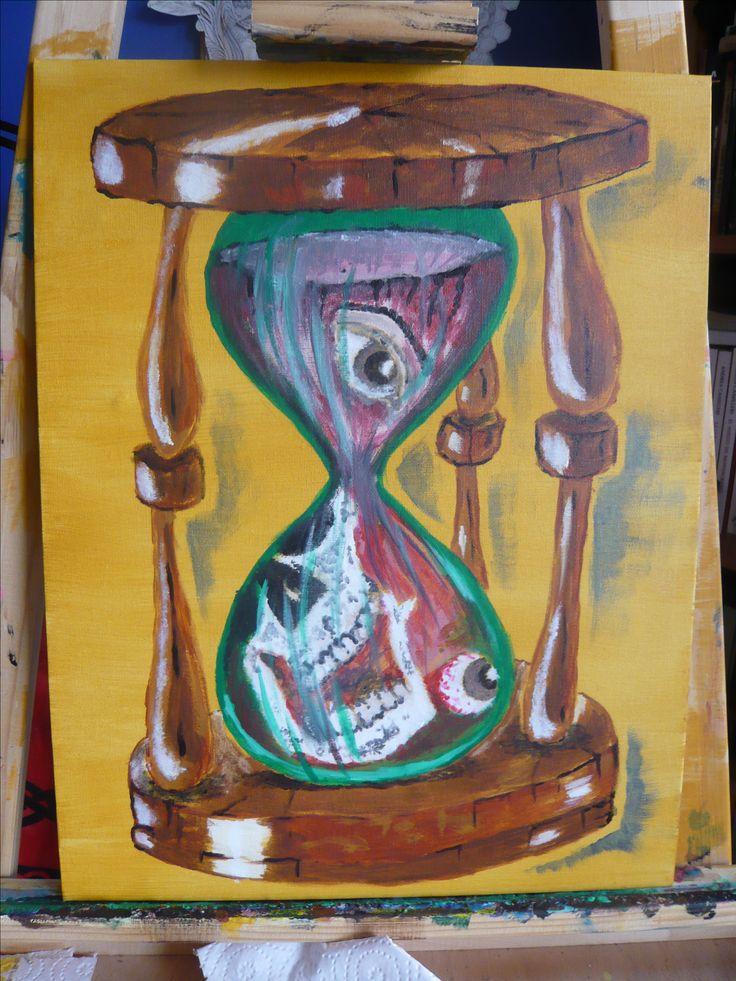 #artecontemporaneo #art #arte #acrilico #acrylicpainting #pintura #color #tiempo #time #relojdearena #hourglass #tattooartist #artista #Chile #wasodemattos