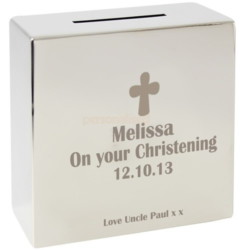 Personalised Christening Silver Money Box  from Personalised Gifts Shop - ONLY £19.95