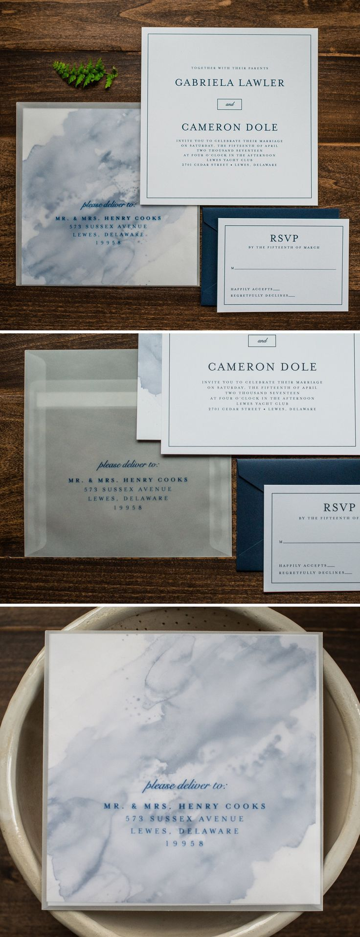 Watercolor Wedding Invitations with Vellum Envelope by