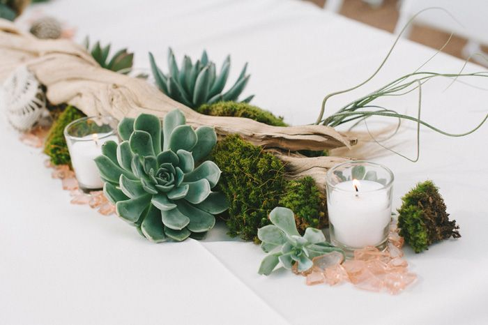 Creative non floral wedding centerpieces wedding for Driftwood table centerpieces