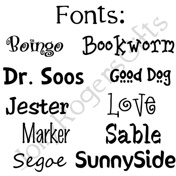 Fonts available for Pet Tags