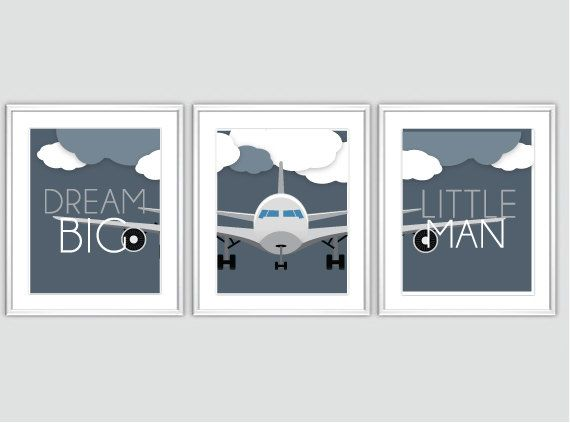 Modern Baby Boy Airplane Nursery Art Print by BabyOnBoardShop