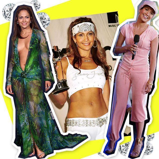 Happy birthday @JLO! Jennifer Lopez completa 48 anos nesta segunda-feira e para homenagear a cantora relembramos três de seus mais icônicos looks: o ousadíssimo vestido verde da @versace_official usado no Grammy de 2000; o conjunto branco com bandana (e muito strass) do MTV Movie Awards do mesmo ano; e o abrigo @JuicyCouture de 2001 usado é claro com boina do mesmo tom. Conta pra gente: qual é o seu hit favorito da bela? ( @gettyimages) #jenniferlopez  via GLAMOUR BRASIL MAGAZINE OFFICIAL…