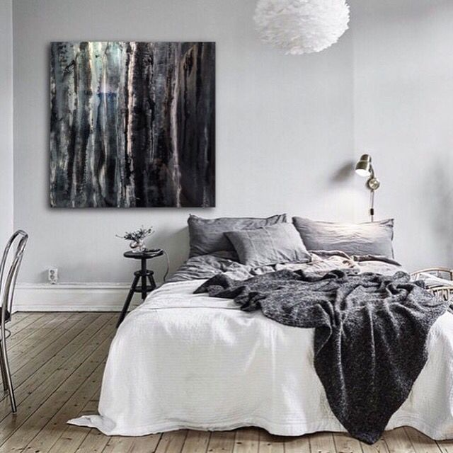 Blue Gum just hung in the Martine Gallery. Showing it off in this beautiful bedroom.