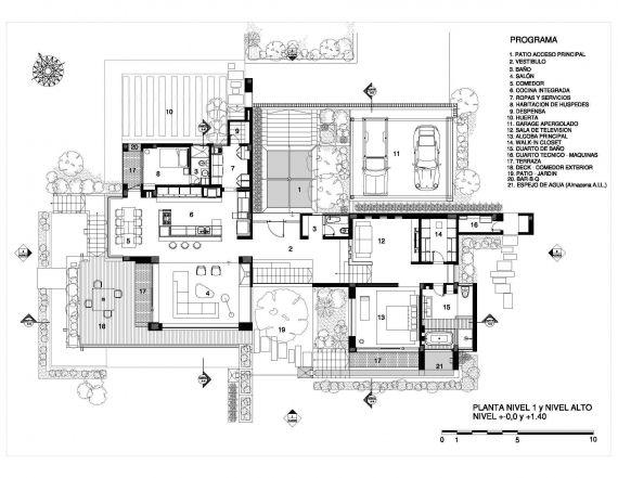 Casa La Petra. Planta nivel 1 y nivel alto