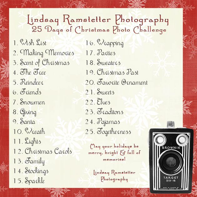 These are just some ideas to help you get your camera out every day, for the 25 days leading up to Christmas. You can use your point and shoot or even your cell phone. The goal is for you to have more photos of this Christmas than in years past and have fun doing it!    Remember: With digital technology it costs you NOTHING to use your camera more and take more photos!