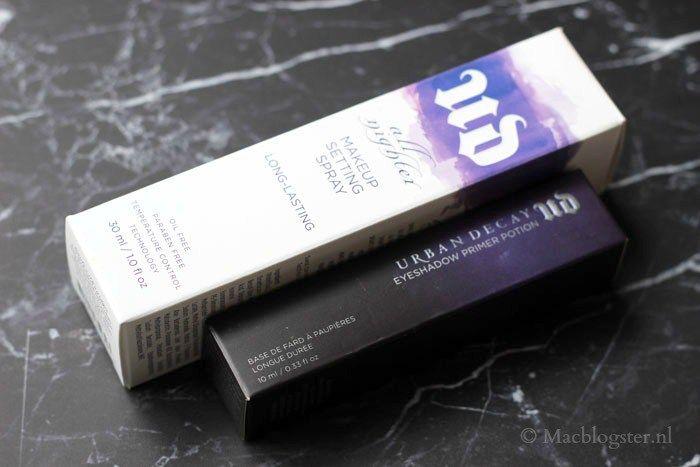 Urban Decay Setting Spray and Eyeshadow Primer Potion: Professionele Make-up Merken waar visagisten mee werken