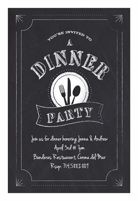 Chalk Board Dinner Party printable invitation template. Customize, add text and photos.  Print, download, send online or order printed!