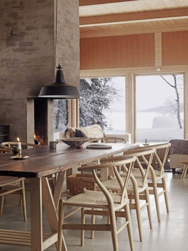 Dinner space with Hans Wegner's Y-Chairs or Wishbone Chairs