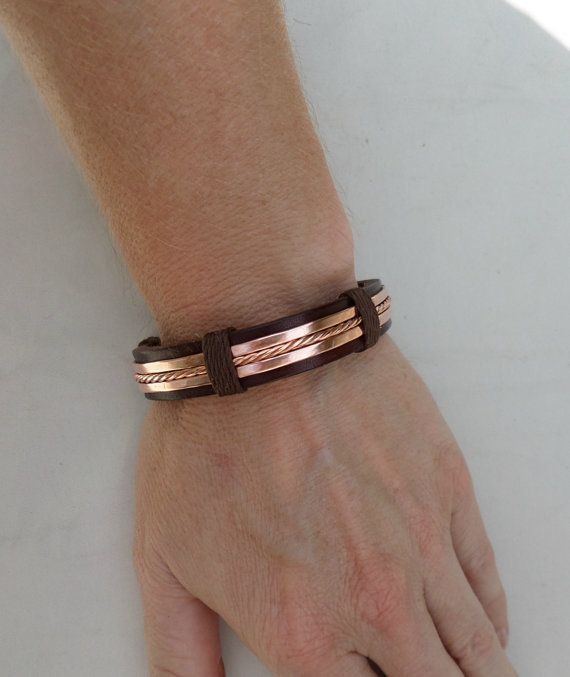 Men's Leather and Copper Bracelet Men's by ColeTaylorDesigns, $35.00 Would rather have it in silver