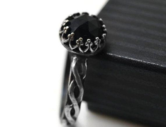 Keltische Onyx Ring Antik Silber Verlobungsring von fifthheaven