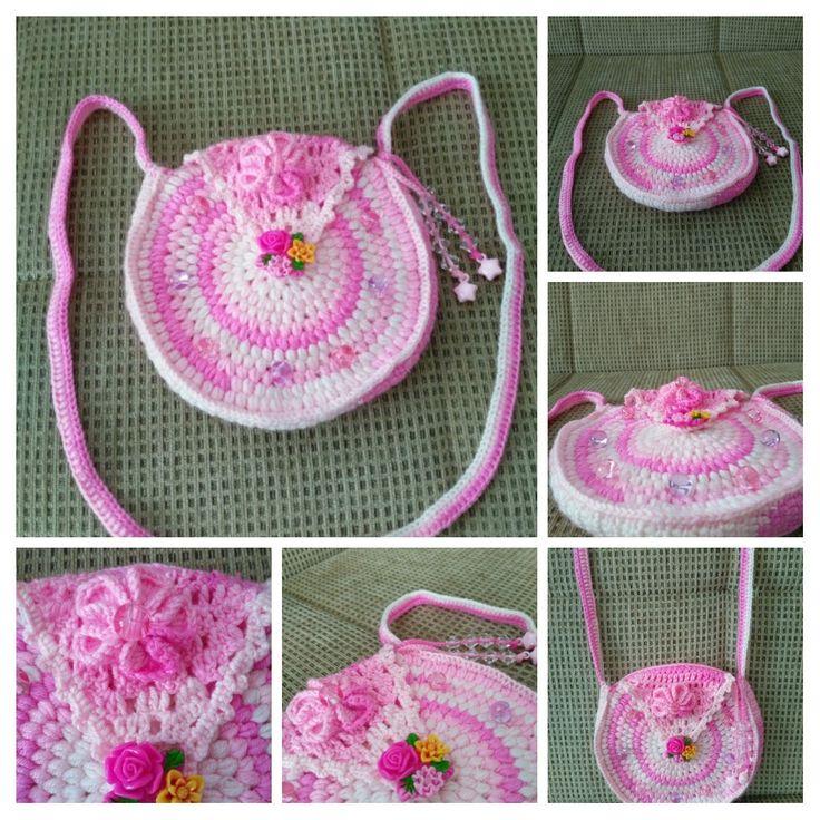 Tığ işi çanta, crochet bag, şeker pembe, kız çocuk için, Pink, for little girls