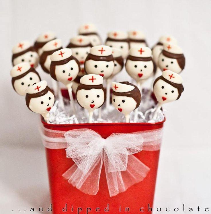 Nurse cake pops - I really like the old fashioned nurse's cap idea.